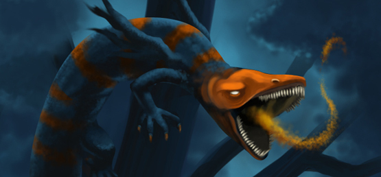 A salamandra que feriu Dharon no primeiro capítulo de Línguas de Fogo.