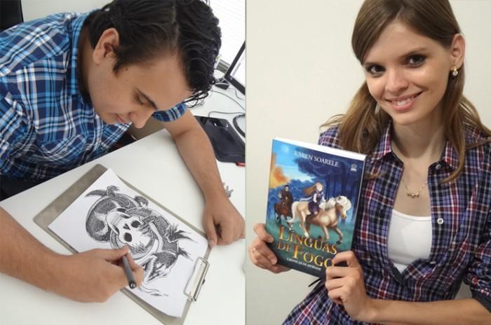 Os criadores: Karen Soarele (escritora) e Luís Brüeh (desenhista).